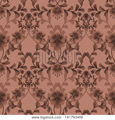 Floral seamless pattern with flowers texture gzhel on brown background