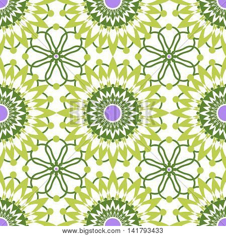 Seamless green lace pattern print on white background