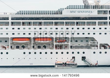BUZIOS, BRAZIL - Dec 31, 2008: Cruise Line MSC  Cruise ship MSC Sinfonia was built in 2002 in France. She can accommodate 2680 passengers in 977 cabins.