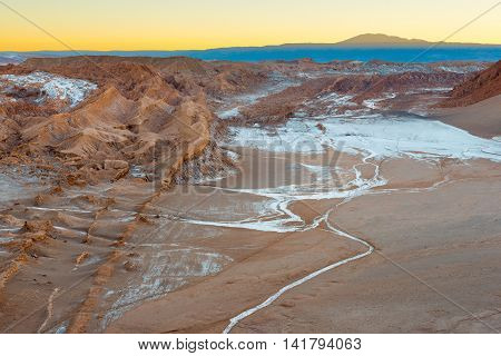 View of Valle de la Luna (Moon Valley) Cordillera de la Sal (salt mountain range) Atacama Desert Chile