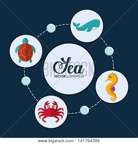 Sea animal cartoon design represented by crab, sea horse, whale and tortoise icon. Colorfull and flat illustration.