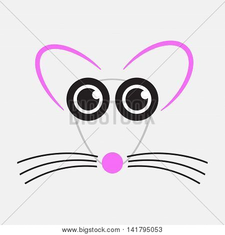 gray drawing mouse with black eyes whiskers and pink nose ears
