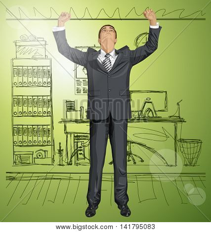 Vector happy businessman with hands up, looking up for idea, celebrating his victory
