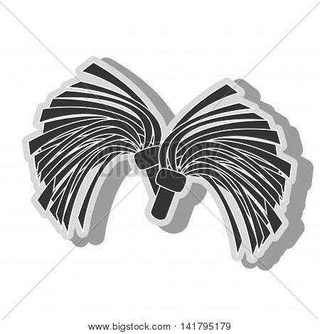 cheerlader pom icon in black and white colors, isolated flat design