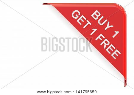 Buy 1 Get 1 Free red corner. Sale and discount concept 3D rendering isolated on white background