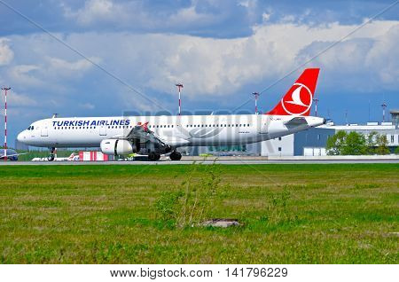 SAINT PETERSBURG RUSSIA-MAY 11 2016.TC-JMH THY Turkish Airlines Airbus A321 airplane in Pulkovo airport. Closeup of Turkish airlines airplane.Turkish Airlines is the national carrier airline of Turkey