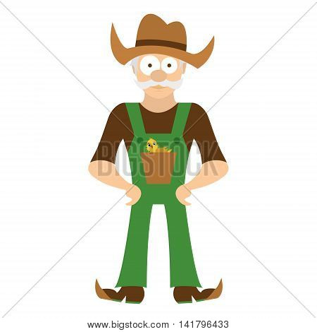 Cute cartoon farmer in a hat and in a form in your pocket chicken. Isolated on white background. Vector illustration.