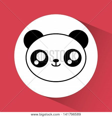 Cute animal design represented by kawaii panda icon over circle. Colorfull and flat illustration.