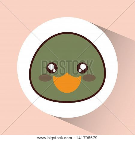 Cute animal design represented by kawaii duck icon over circle. Colorfull and flat illustration.