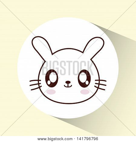Cute animal design represented by kawaii rabbit icon over circle. Colorfull and flat illustration.