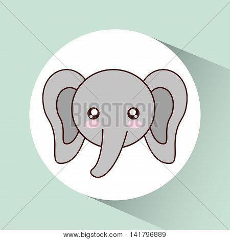Cute animal design represented by kawaii elephant icon over circle. Colorfull and flat illustration.