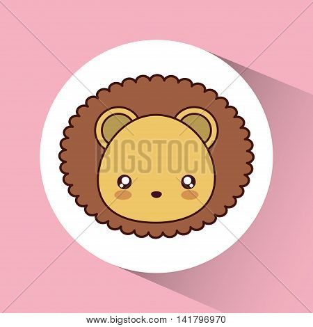 Cute animal design represented by kawaii lion icon over circle. Colorfull and flat illustration.