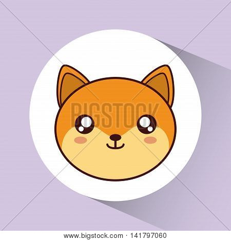 Cute animal design represented by kawaii dog icon over circle. Colorfull and flat illustration.