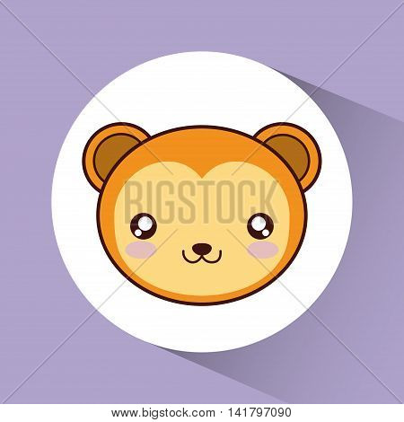 Cute animal design represented by kawaii bear icon over circle. Colorfull and flat illustration.