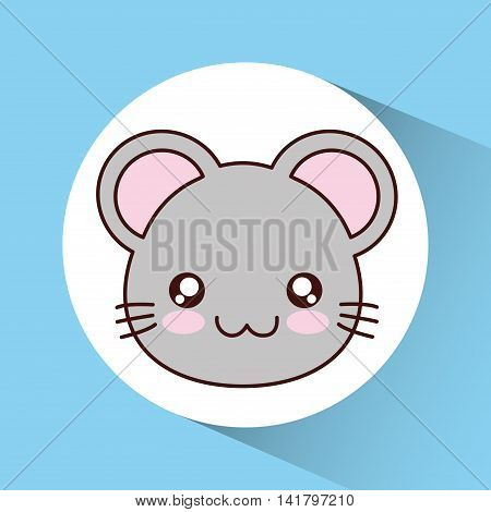 Cute animal design represented by kawaii mouse icon over circle. Colorfull and flat illustration.