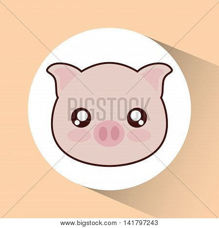 Cute animal design represented by kawaii pig icon over circle. Colorfull and flat illustration.