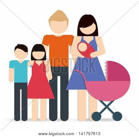 Avatar Family design represented by parents and kids icon. Colorfull and Isolated illustration.