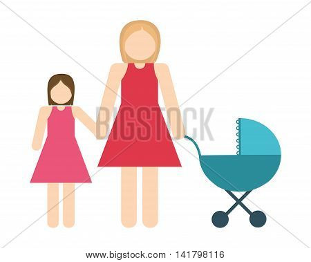 Avatar Family design represented by mother and daughter icon. Colorfull and Isolated illustration.