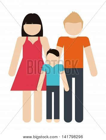 Avatar Family design represented by parents and boy icon. Colorfull and Isolated illustration.