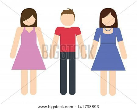 Avatar of young people design represented by girls and boy icon. Colorfull and Isolated illustration.