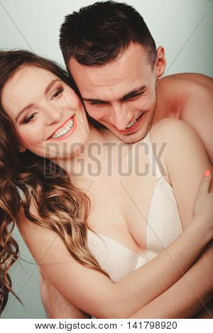 Happy Couple. Half Naked Man And Woman In Lingerie