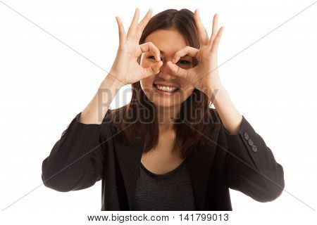 Asian Business Woman Do Funny  Double Ok Sign As Glasses.