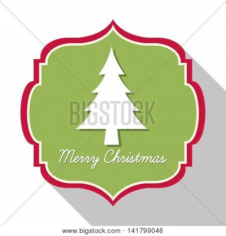 Merry Christmas concept represented by label with pine tree icon. Colorfull and classic illustration