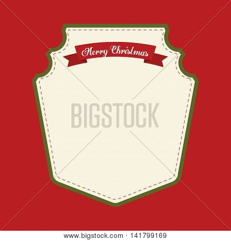 Merry Christmas concept represented by label with ribbon icon. Colorfull and classic illustration