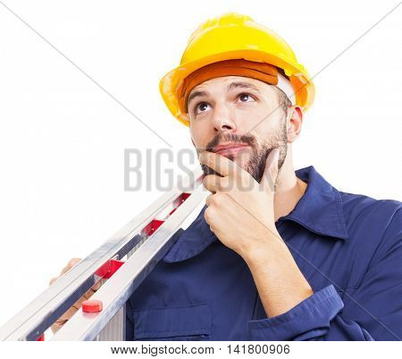 Thoughtful worker holding a aluminum stepladder, isolated on white background