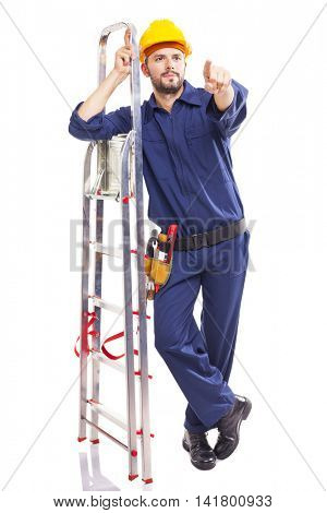 Worker standing pointing with aluminum stepladder, isolated on white background