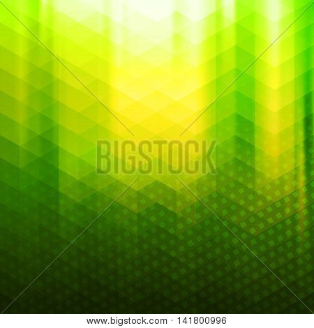 Green and yellow colored polygonal vector background with triangles and halftone texture overlay. Vibrant mosaic decorative backdrop with smooth gradient. Abstract screen wallpaper or banner layout