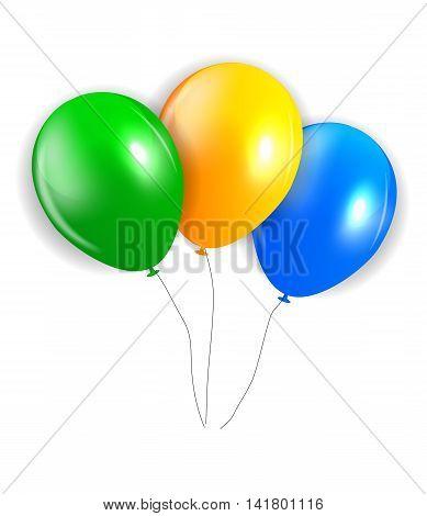Balloons in Brazil Flag Colors, Vector Illustration. EPS10