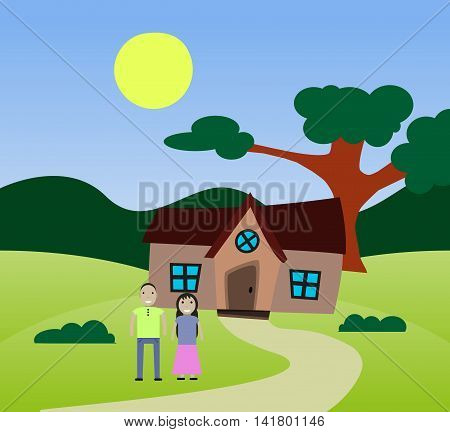 family house in the background landscape outdoor