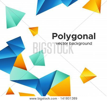 Colorful vector background with vibrant blue-orange polygonal crystal shapes frame isolated on white background. Premium low poly geometric banner design concept