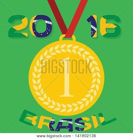 Gold medal with inscription in Portuguese and interpret flag of Brazil. Vector Illustration. EPS10