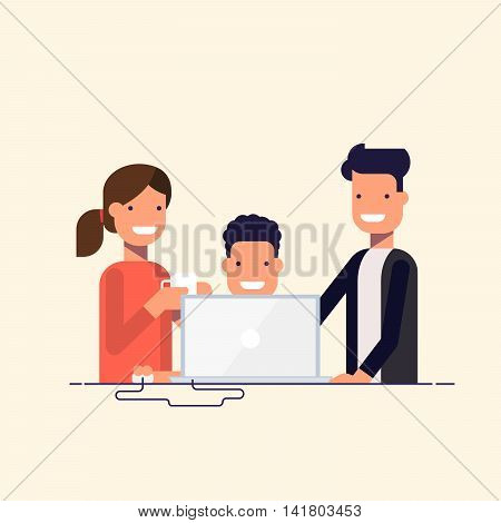 Business team in a work process or parent watch the child. Man sitting at a computer surrounded by employees. Team problem solving. A man in a business suit and woman drinking coffee. Cartoon flat.