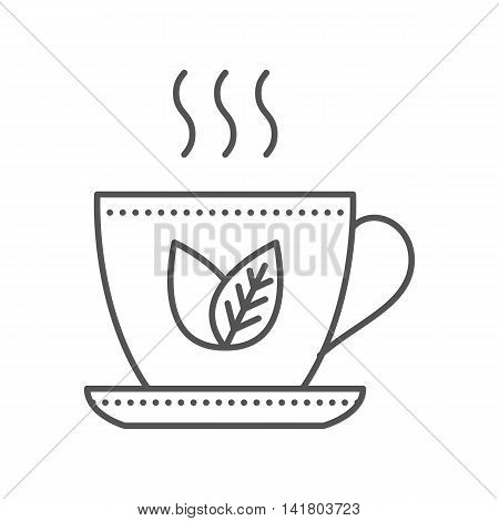 Cup of green tea icon. Thin line vector illustration. Herbal tea icon on white background
