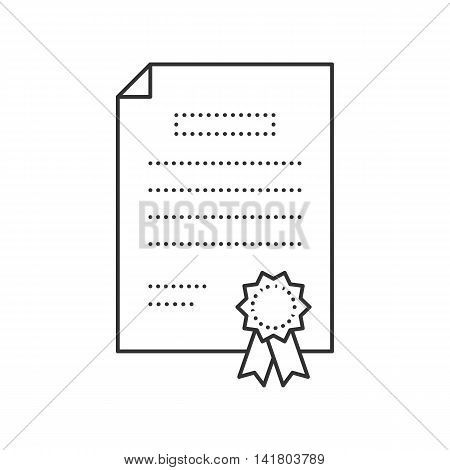 Certificate thi line icon. Diploma vector illustration
