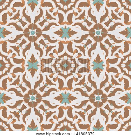 Abstract seamless pattern with geometric and floral ornaments boho. Tile repeat