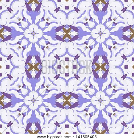 Abstract seamless pattern with geometric and floral ornaments vintage ethnic boho style