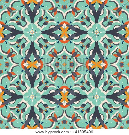 Abstract seamless pattern with geometric and floral ornaments ethnic boho style. Tile repeat.