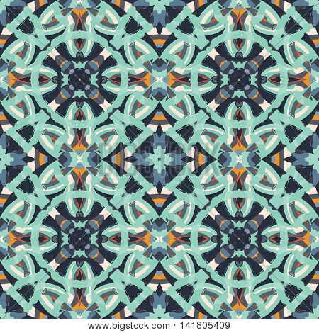 Abstract seamless pattern with geometric and floral ornaments boho style. Tile repeat.