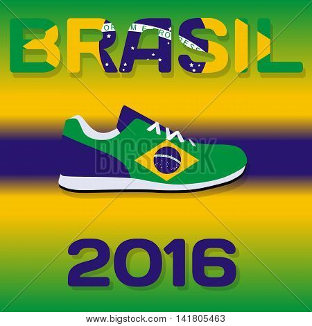 Sign Sport country with flag of Brazil with inscription in Portuguese. Vector Illustration. EPS10