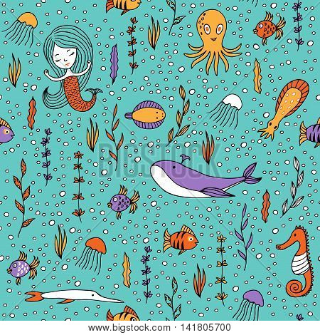 Seamless pattern marine life. Fish, algae, sea animals, mermaid and bubbles drawn by hand in cartoon style on turquoise background.