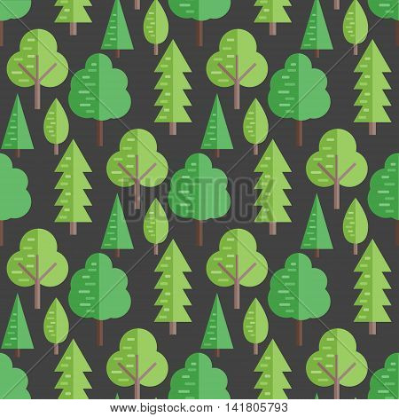Seamless pattern with flat trees. Vector background illustration