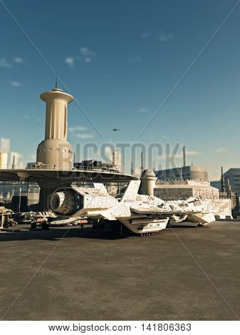 Science fiction illustration of an interstellar spaceship landed at the spaceport in a futuristic science fiction city on a bright sunny day, digital illustration (3d rendering)