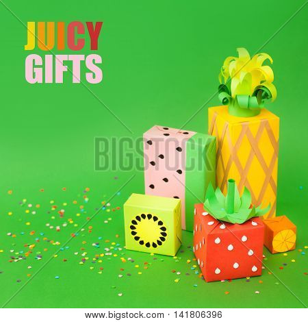 Gifts Wrapped In Colored Paper. Gifts Like Fruit. Fruit Boxes.
