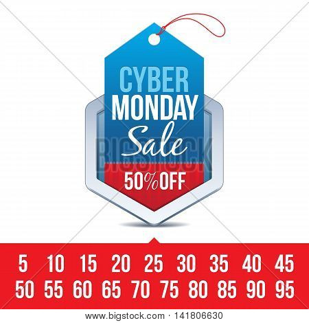 Hexagon Chrome Badge with Cyber Monday Sale Sign and Various Percentages