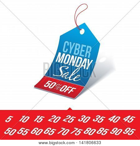 Shopping Tag with Cyber Monday Sale Sign and Various Percentages