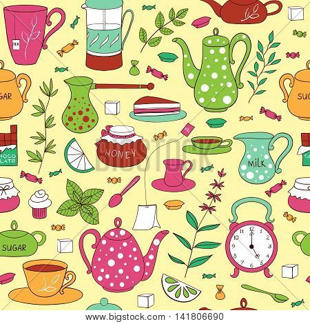 Tea time seamless pattern. Teapots, cups, leaves, cupcakes and sweets hand drawn on a light background. Vector illustration in cartoon style.
